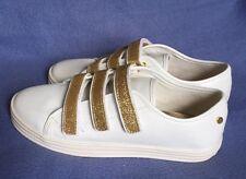 New Tahari Fern White Sneakers Gold Glitter Straps sz 5 US/36 EU/ 4 UK