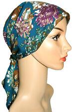 HEADWEAR FOR HAIR LOSS. HEAD SCARF LIGHTLY PADDED, ALOPECIA. Petrol-blue-purple