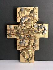 Artisan Wood Cross Adorned W/ Safari Animals Lins Giraffe Rhino Moon Stars Cross