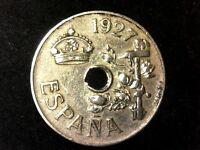 25 céntimos 1927 Alfonso XIII de agujeros descentrados o anchos, XF a VF
