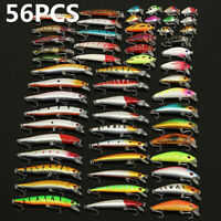 56pcs Lot Mixed Minnow Fishing Lures Bass Baits Crankbaits Fish Hooks Tackle DA