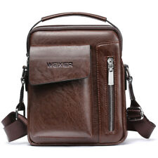 WEIXIER Men's Leather Messenger Briefcase Bags Cross body Handbag Shoulder Bag