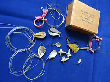 A VINTAGE WATCHMAKERS BOX + SELECTION OF HOGBACK TIGER FISH SPOONS + OTHER LURES