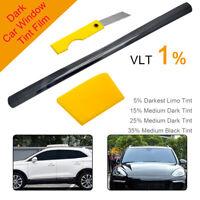 AU VLT 1% Office Car Home Window Tint VLT Film Anti-UV Proof Roll Kit 0.76m*6m