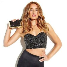 💋💋NWT Guess by Marciano BLACK Selena embellished bustier TOP SIZE S 💋💋