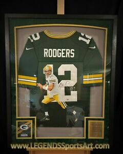 """Aaron Rodgers Green Bay PACKERS """"Hand Painted"""" Autographed Jersey 1/1 FRAMED"""
