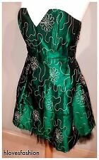 👑SONIC LONDON Emerald Green Satin Gold Floral Embroidered Corset Dress UK 10👑
