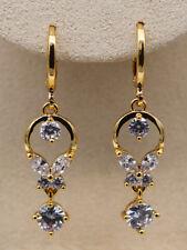 18K Gold Filled - Clear Zircon String Gemstone Round Hollow Trendy Lady Earrings