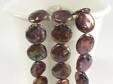19-21 mm Large Mauve Brown OR Champagne Flat Coin Freshwater Pearl Beads (#213)