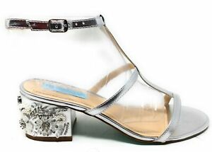 Betsey Johnson Womens SB-Lissa Ankle Strap Sandals Silver Metal Size 8.5 M US