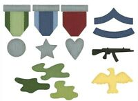 """Military Medals Army Quickutz 2x2"""" 7 Thin Metal Die Set QKDS-16 NEW!"""