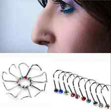 20pcs Nose Studs Screw Mixed color Rhinestone Crystal Ring Bone Bar Pin Piercing
