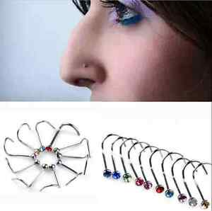 20pcs Nose Studs Screw Mixed color Rhinestone Crystal Ring Bone Bar Pin Piercing