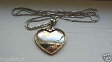 """Sterling Silver Laton Mexico Rope Edge Heart Pendant & 24"""" Box Chain"""