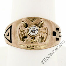Men's Antique Victorian 14K Gold 0.28ct Diamond & Enamel Detailed Masonic Ring