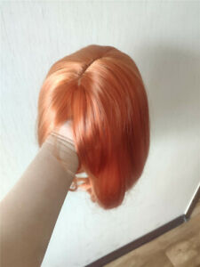14inch Cosplay wig no lace  Orange Full Head Synthetic hair Fashion
