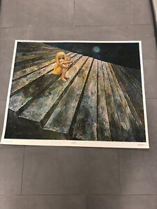 "Walter Margaret KEANE ALONE Big Eyes 1960's Mid Century Litho Print  30 1/4""x38"""