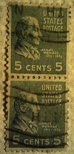 1938 U. S. Scott 810 James Monroe two cancelled used 5 cent stamps off paper