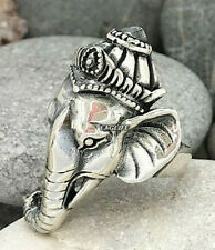 Animal Fashion Men Women Ring, Elephant 925 Sterling Silver Ganesh Lord Elephant