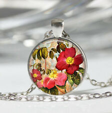 Rose photo Tibet silver dome Glass Cabochon Necklace chain Pendant #449