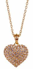 Swarovski Elements Crystal Puffed Heart Pendant Necklace 18K Gold Plated 7117a