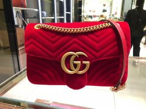 AUTHENTIC GUCCI RED Velvet Matelasse large GG Marmont Shoulder Bag! Stunning!