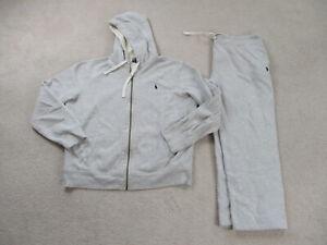 Ralph Lauren Polo Track Suit Adult 2XL XXL Gray Blue Jacket Pants Pony Mens 90s*