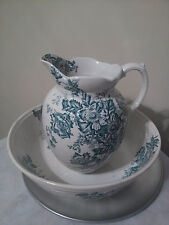 1850-1899 White and Green Art Nouveau Ceramic Bowl and Pitcher. Erie England