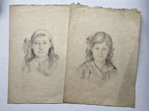 Two Lovely Vintage Antique Original Pencil Portraits Young Girls