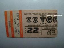 Zz Top 1983 Concert Ticket Stub Birmingham Jefferson Al Rare Z.Z. Eliminator