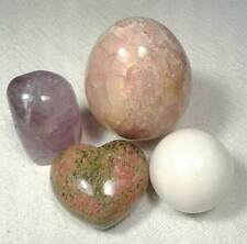 4  Stones - Gorgeous Crazy Lace Agate Egg - Amethyst - Unikite Heart - Marble