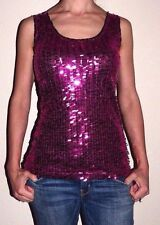 New Women Small BKE Boutique Buckle Black Hot Pink Sequins Lace Ruffle Tank Top