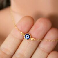 Fashion Turkey Blue Evil Eye Beads Gold Pendant Necklace Clavicle Chain Women