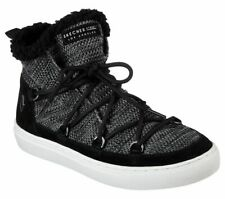 NEW SKECHERS Women Ankle Boots Winter Sneaker Knit WARM WRAPPERS Black Grey