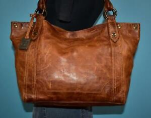 """FRYE """"MELISSA"""" Brown Leather Shoulder Carryall TOTE Carry-All Purse Bag $398"""