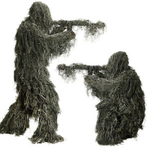 Ghillie Suit 3D 4-Piece w/ Bag Camouflage Camo Tactical Hunting Forest Woodland