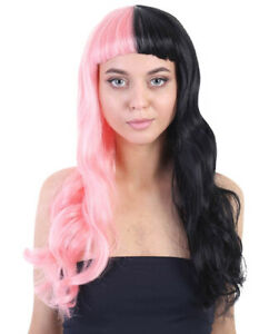 Wig With Bang Hair Long Wavy Pink and Black for Cosplay Melanie Martinez HW-1102