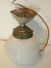 VINTAGE ancien LAMPE BOULE old lamp ART lustre sur TIGE pied PLAFONIER antik