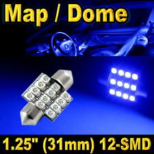 "1x 1.25"" 31mm Festoon 12-SMD Map Dome Ultra Blue LED Lights Bulbs DE3157 DE3022"