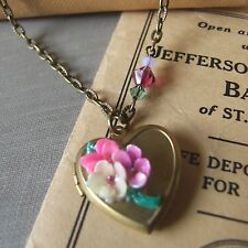 """FOREVER"" Vintage Heart Locket wth Handpainted Vintage Flowers & Swarovski Beads"