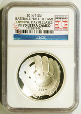 2014-P $1 SILVER BASEBALL HALL OF FAME NGC PF70 ULTRA CAMEO OPENING DAY RELEASES
