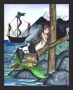 HIDDEN TREASURE Mermaid Baby Pirate print from Original Painting By Grimshaw
