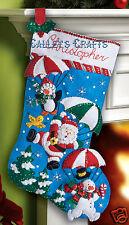 "Bucilla Dropping In ~ 18"" Felt Christmas Stocking Kit #86325, Santa Penguin 2012"