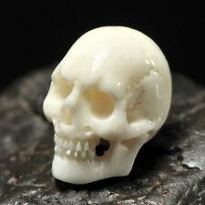 Human SKULL BEAD 16mm Fine White Bovine BONE Bali Carving driled 1mm hand-carved
