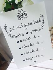 Vintage/Rustic ivory A3 Polaroid guest book sign for weddings/parties- unbacked