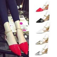 SaleWomen Leather Pointy Toe Boat Shoes Candy Color Casual Flat Shoes Sandal Hot