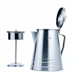 Percolator Coffee Pot Stainless Steel 10-Cup Outdoor Camping Flip Open Top