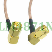 "cable SMA male plug to SMA male plug right angle crimp RG316 6"" pigtail"