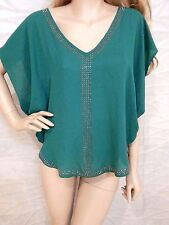NWT bebe green bat sleeve stud embellished chiffon deep v neck top S small 4 6