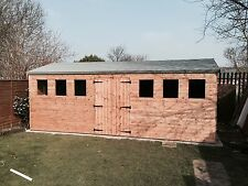 Wooden 20 x 10 Shed/Workshop with T&G Timber cladding & Floor + Rubber Roof
